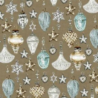 Makower UK Balmoral - 4704 - Traditional Christmas Baubles, Duckegg on Taupe  - 1599-V - Cotton Fabric